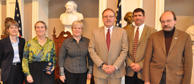 Left to right: Cynthia Greene, EPA; Lynn Rubinstein, Executive Director, NERC; Mary Ann Remolador, Assistant Director, NERC; Curt Spaulding, EPA; Greg Cooper, MA DEP, Vice President, NERC; Chip Foley, Vice President, Steel Recycling Institute.
